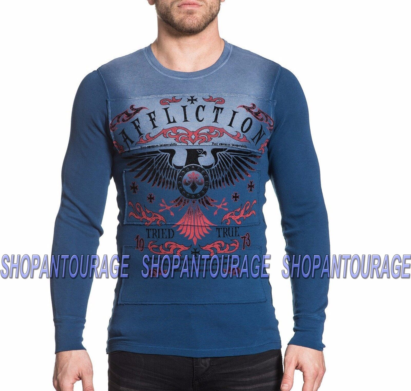 Affliction Tried Eagle A16862 New Long Sleeve Graphic bluee Thermal Top For Men