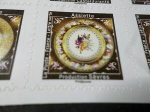 FRANCE-2019-timbre-ASSIETTE-SEVRES-ART-FLEURS-AUTOADHESIF-neuf-MNH