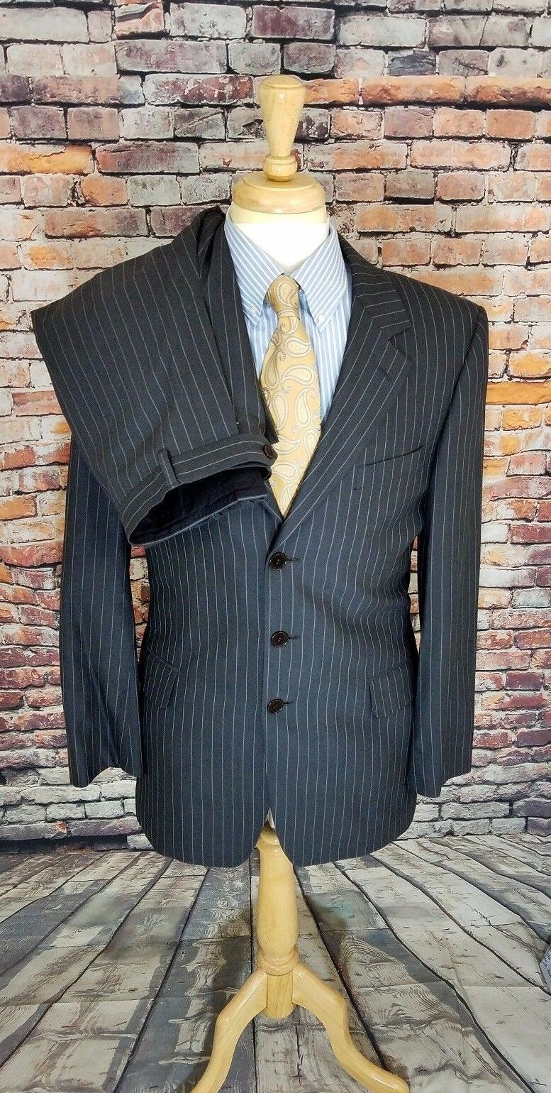 Paul Smith London THE FLORAL 40R Charcoal Grau Stripe WOOL 2 Piece Suit 30x32