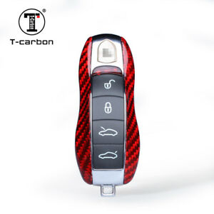 Red Real Carbon Fiber Luxury Key Case for Porsche Cayenne Panamera 911 Spyder