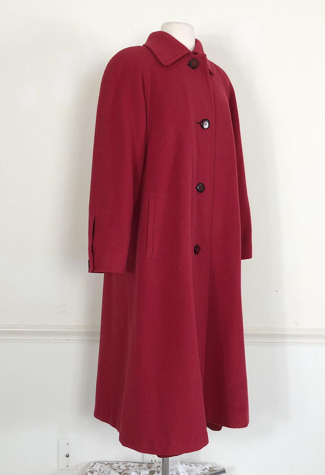 Vintage Regency Cashmere Womens 2 LONG MAXI Swing Coat True Red Classic