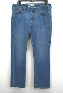 Levi-Strauss-Signature-Women-039-s-Size-16-Modern-Straight-Cut-Denim-Blue-Jeans