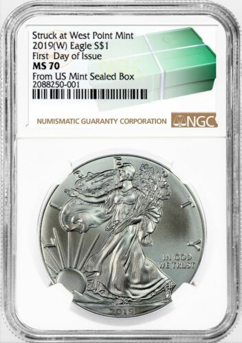 2019 $1 Silver Eagle NGC MS70 FIRST DAY OF ISSUE STRUCK AT WEST POINT W