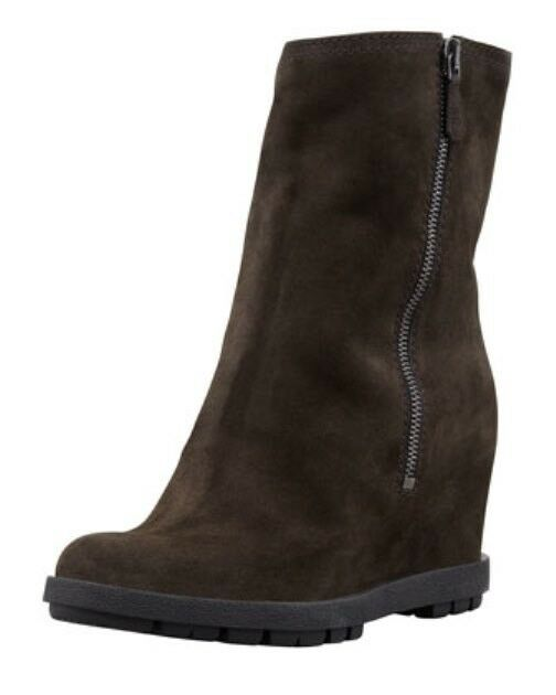 Prada Suede Double-Zipper Wedge Ankle Boot (Size 36 1/2)