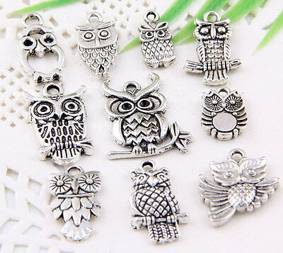 "30Pcs Mixed Tibetan Silver (Lead-Free)""Owl""Charms Pendant For Jewelry"