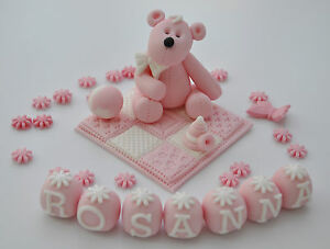 EDIBLE-TEDDY-WITH-BLANKET-NAME-CAKE-TOPPER-DECORATION-CHRISTENING-BOY-GIRL