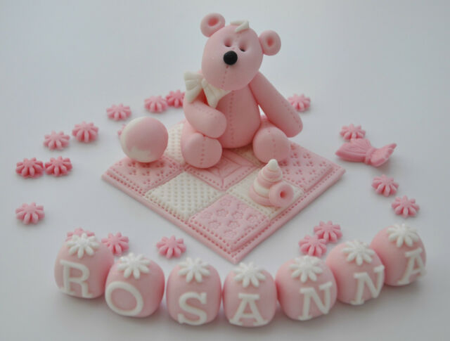 EDIBLE TEDDY WITH BLANKET NAME CAKE  TOPPER DECORATION CHRISTENING  BOY ~ GIRL