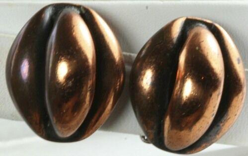 VTG COPPER FRANK REBAJES CLIP EARRINGS - image 1