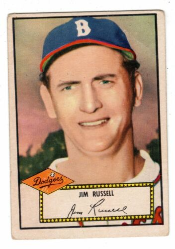 1 of 1 - 1952 Topps Red Back #51 Jim Russell - Brooklyn Dodgers, Very Good Condition.
