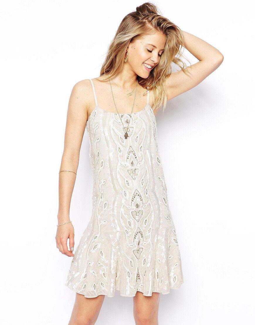 New Needle & & & Thread Chalk Lace Peplum Dress  S 8f4c87