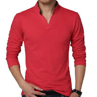 Cotton T Shirt Fashion Mens Tee Shirt Male Stand-Up Collar Long Sleeve Shirts