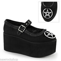 Demonia Click-02-2 Black Pentagram Embroidery Buckle Platform Mary Jane Shoes