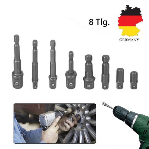 """8x Stecknuss Adapter Steckschlüssel 3//8/"""" 1//2/"""" 1//4/"""" Sechskant Magnet Nuss Bitsatz"""