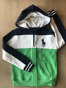 Polo Ralph Lauren Boys French Navy Big Pony Corlorblock Raglan Full Zip Hoodie