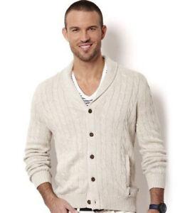 5daa4769701b6 Image is loading Nautica-Shawl-Collar-Cardigan-Sweater-Oatmeal-Mens-Size-