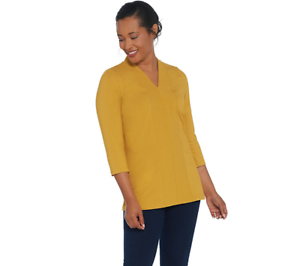 Denim-amp-Co-Essentials-Perfect-Jersey-V-Neck-3-4-Sleeve-Top-Black-Size-Medium