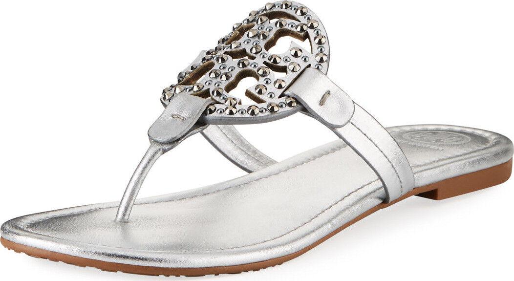 Nuevo En Caja Tory Burch Miller Medallón Adornado Sandalias Zapatos Plata 8.5 M