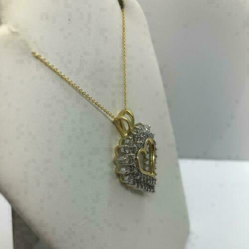 """Details about  /1 CT Round Cluster Diamond Heart Love Pendant 18/"""" Necklace 14k Yellow Gold Over"""