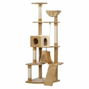 "Cat Tree 75"" Beige Plush Scratching Post Kitten Furniture Gym Play 2 Condo"