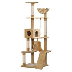 "Cat Tree 75"" Beige Plush Scratching Post Kitten Furniture Gym Play 2 Condo"