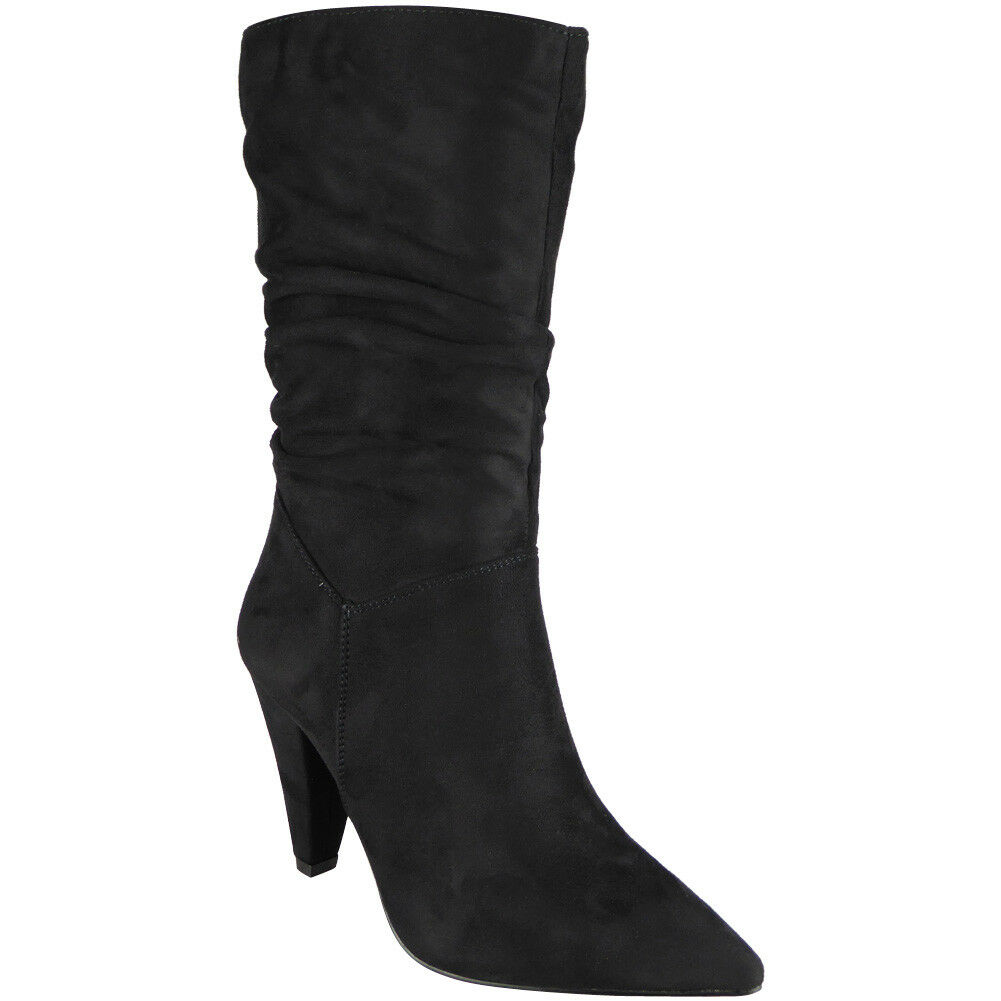 Black Slouchy Mid Calf High Heel Boots Faux Suede
