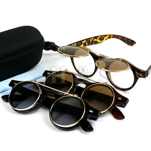 Flip-Up-Steampunk-Sunglasses-50s-Round-Glasses-Cyber-Goggles-Vintage-Retro-Style