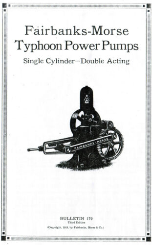 Fairbanks Morse Typhoon Power Pumps Manual Booklet Single Cylinder Gas Engine