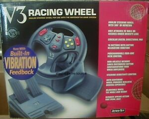NEW-V3-DRIVING-STEERING-WHEEL-CONTROLLER-W-GAS-BRAKE-PEDALS-FOR-N64-NINTENDO-64