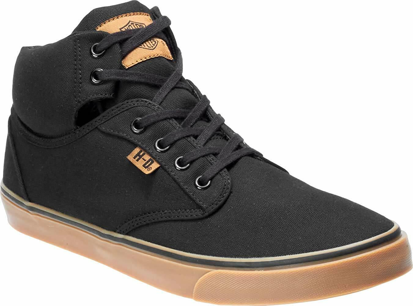 Men Harley-Davidson Wrenford Casual shoes D93544 Black Canvas 100% Original New
