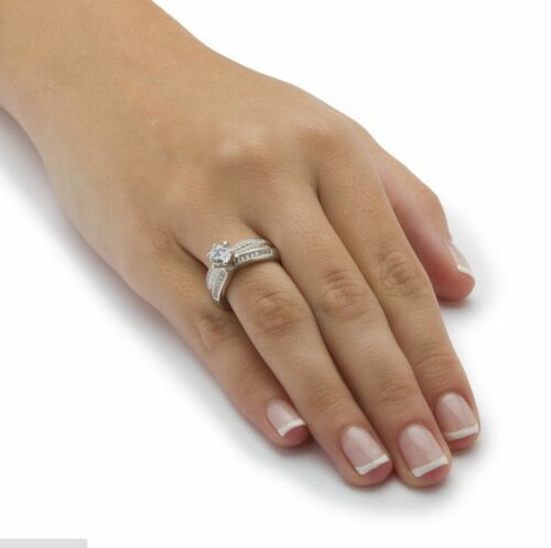 Elegant Femme Round Cut 2.35 ct WHITE SAPPHIRE 925 SILVER RING Taille 6-10