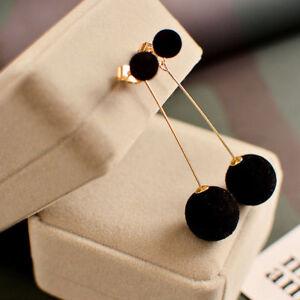 Double-Sided-Long-4-Colour-Fur-Ball-Pom-Pom-Women-039-s-Stud-Earrings-Gold-Plated