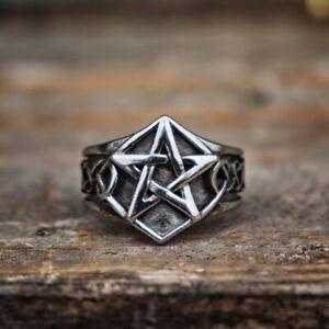 Edelstahl-Ring-Pentagramm-Fingerring-Gothic-Tribal-keltisch-Modeschmuck
