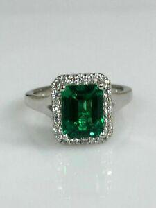 2-50-Ct-Emerald-amp-Diamond-14K-White-Gold-Over-Halo-Engagement-Wedding-Ring