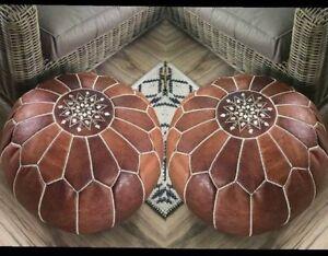 zwei-Leder-Sitzkissen-Lederkissen-Sitzhocker-orientalische-Pouf-Lederhocker