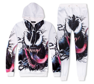 Fashion Mens Womens 3D Print venom Sweatshirt Hoodies Jogging pants Sport Suits
