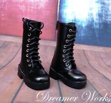 1//4 1//3/&Uncle BJD Shoes Brown Leather Military Boots Knee-high Lace-up 3 Buckles