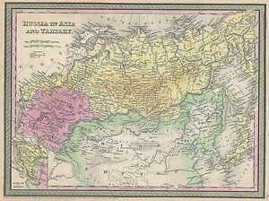 GEOGRAPHY-MAP-ILLUSTRATED-ANTIQUE-MITCHELL-RUSSIA-LARGE-POSTER-ART-PRINT-BB4445A