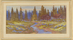 K-E-Cavendish-Signed-20th-Century-Watercolour-Woodland-River-Landscape