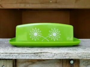 SHIPS-FREE-Vintage-Melmac-Butter-Dish-Avocado-Retro-Floral-Decals