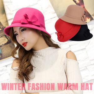 fa5c046ed8c4c New Women s Wide Brim Wool Felt Bowler Fedora Hat Floppy Bowknot Cap ...