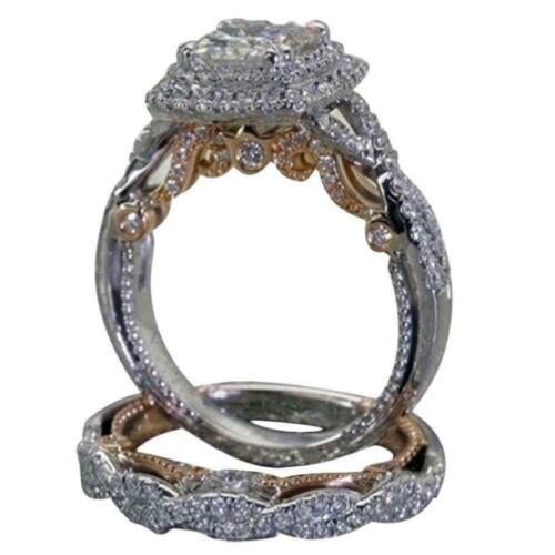 Damen Silber Rose Gold Diamant Ring Engagement Schmuck O1Z2