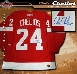 CHRIS CHELIOS Signed Detroit Red Wings Red CCM Jersey - Chicago ... 1e9ed93fb