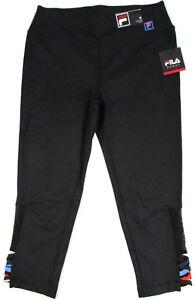 Fila-Yoga-Pants-Capris-Sport-Performance-Moisture-Wicking-Stretch-Black