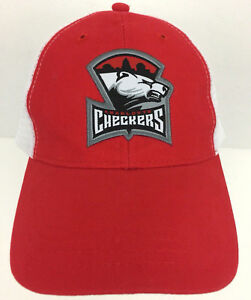 Charlotte-Checkers-Cap-Snapback-Hat-Hockey-Red-Logo-White-Mesh-Trucker-Baseball