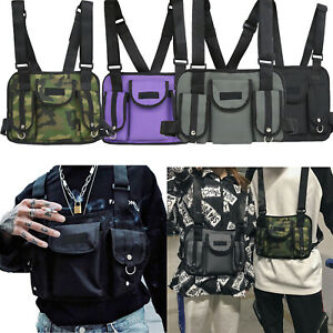 Video Games Nylon Chest Rig Waist Bag Vest Hip Hop Streetwear Functional Tactical Chest Bag Street Wear Shoulder Bags Black Camo Grey Purple Clearance Price