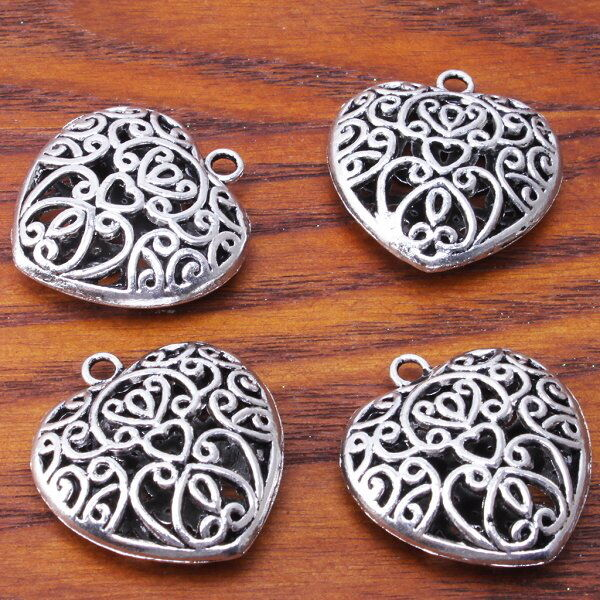 7pcs Wholesale New Hollow Heart Pendants Findings Plated Silver Charms 142121