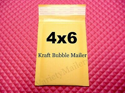44 Kraft Bubble Envelopes 4x6 Small Self-Sealing Padded Shipping Mailers