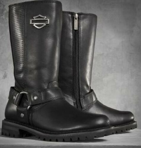 """Harley Davidson New Ladies Lily 11.5/"""" Harness Boot Black Leather Zip Biker Boots"""
