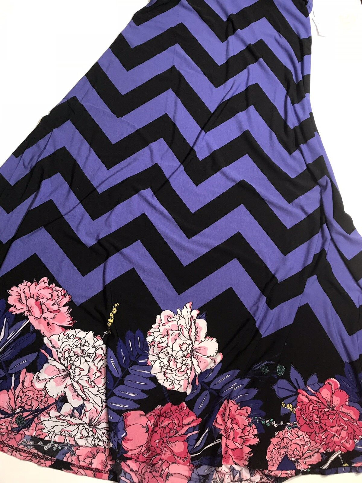 Lularoe Floral Maxi Skirt Dress XXS Chevron Stripe Purple bluee Dipped pink Peony