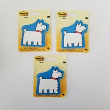 Lot Of 3 New Post It Notes By 3m Blue Terrier Dog Post It Notes Sz 73mm X 73mm